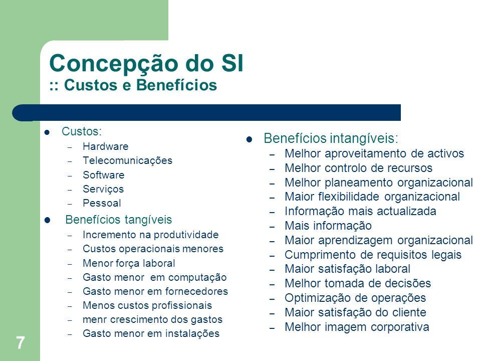 7 Concepção do SI :: Custos e Benefícios Custos: – Hardware – Telecomunicações – Software – Serviços – Pessoal Benefícios tangíveis – Incremento na pr