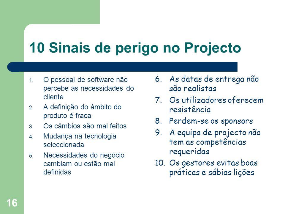 16 10 Sinais de perigo no Projecto 1. O pessoal de software não percebe as necessidades do cliente 2. A definição do âmbito do produto é fraca 3. Os c