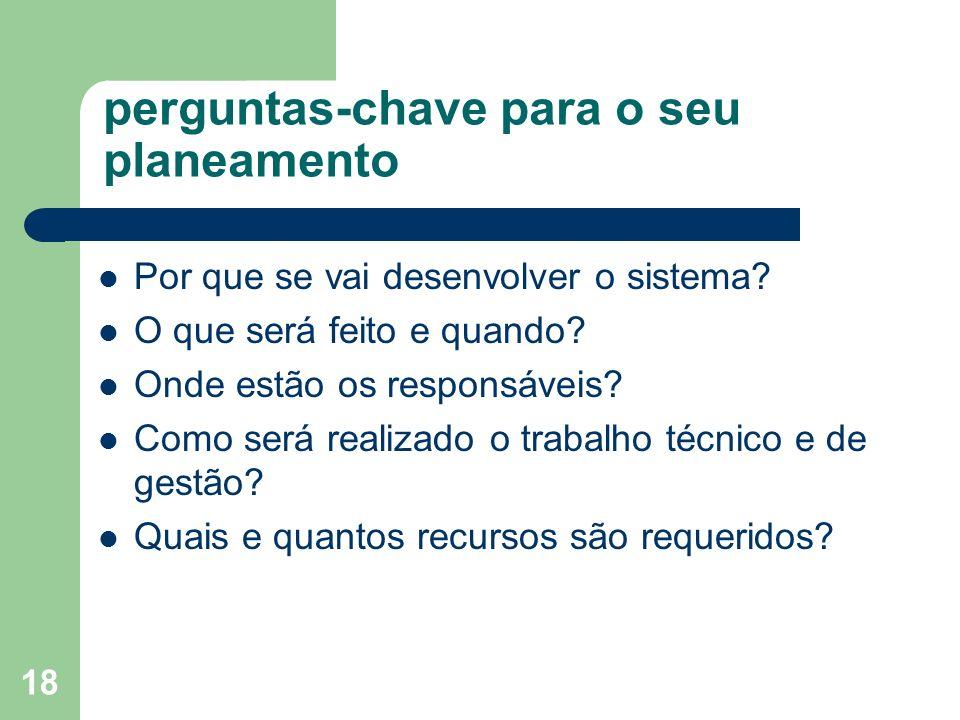 18 perguntas-chave para o seu planeamento Por que se vai desenvolver o sistema? O que será feito e quando? Onde estão os responsáveis? Como será reali