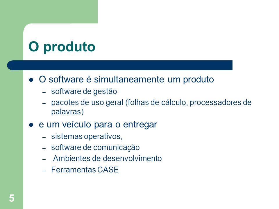 5 O produto O software é simultaneamente um produto – software de gestão – pacotes de uso geral (folhas de cálculo, processadores de palavras) e um ve