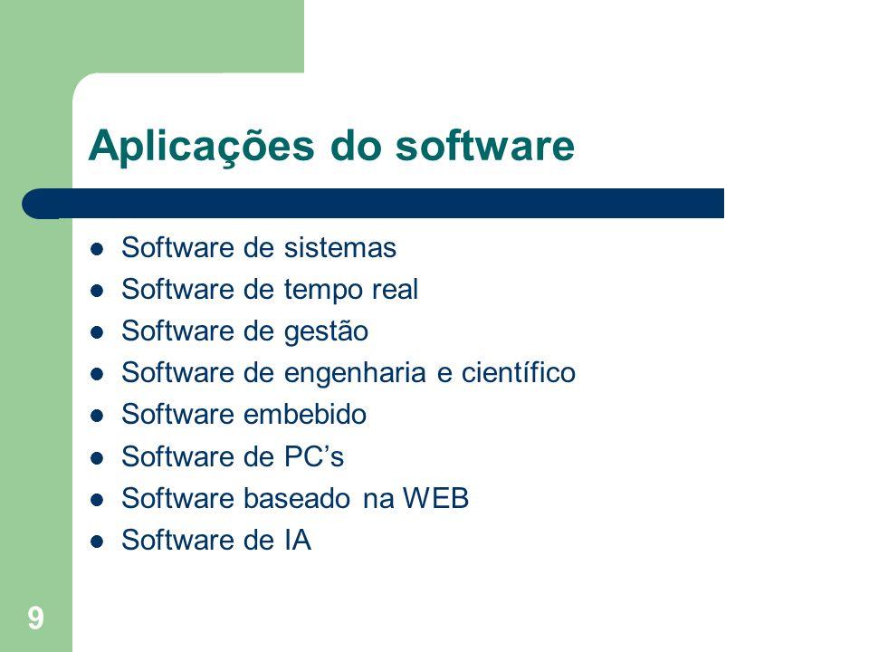 9 Aplicações do software Software de sistemas Software de tempo real Software de gestão Software de engenharia e científico Software embebido Software