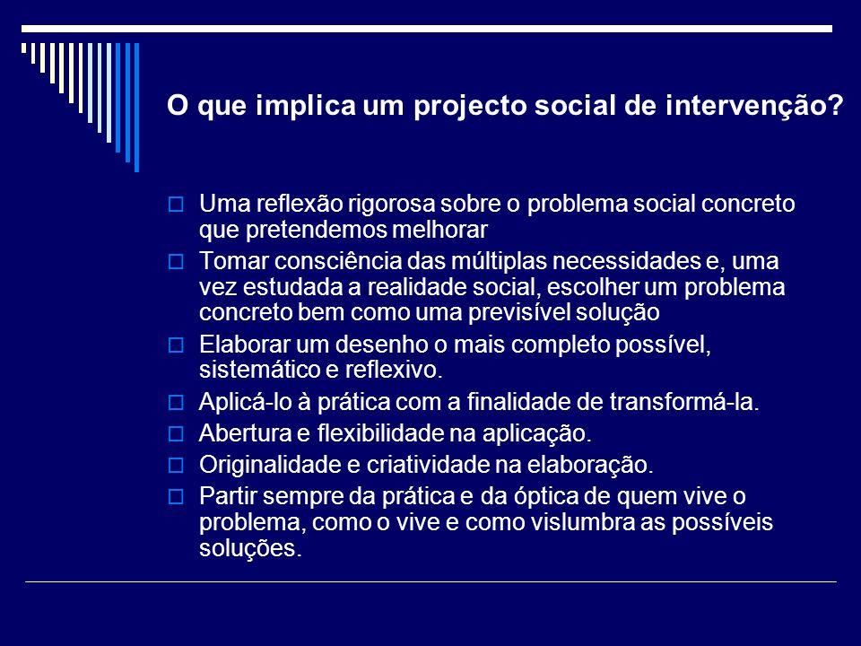 O que implica um projecto social de intervenção? Uma reflexão rigorosa sobre o problema social concreto que pretendemos melhorar Tomar consciência das