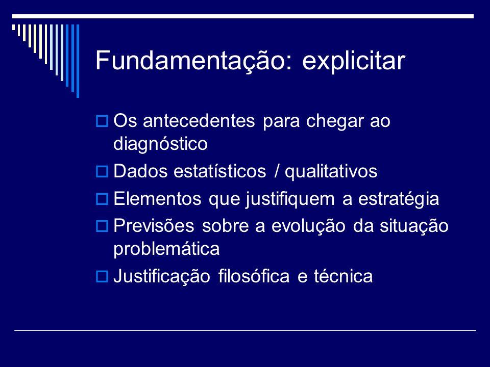 Fundamentação: explicitar Os antecedentes para chegar ao diagnóstico Dados estatísticos / qualitativos Elementos que justifiquem a estratégia Previsõe