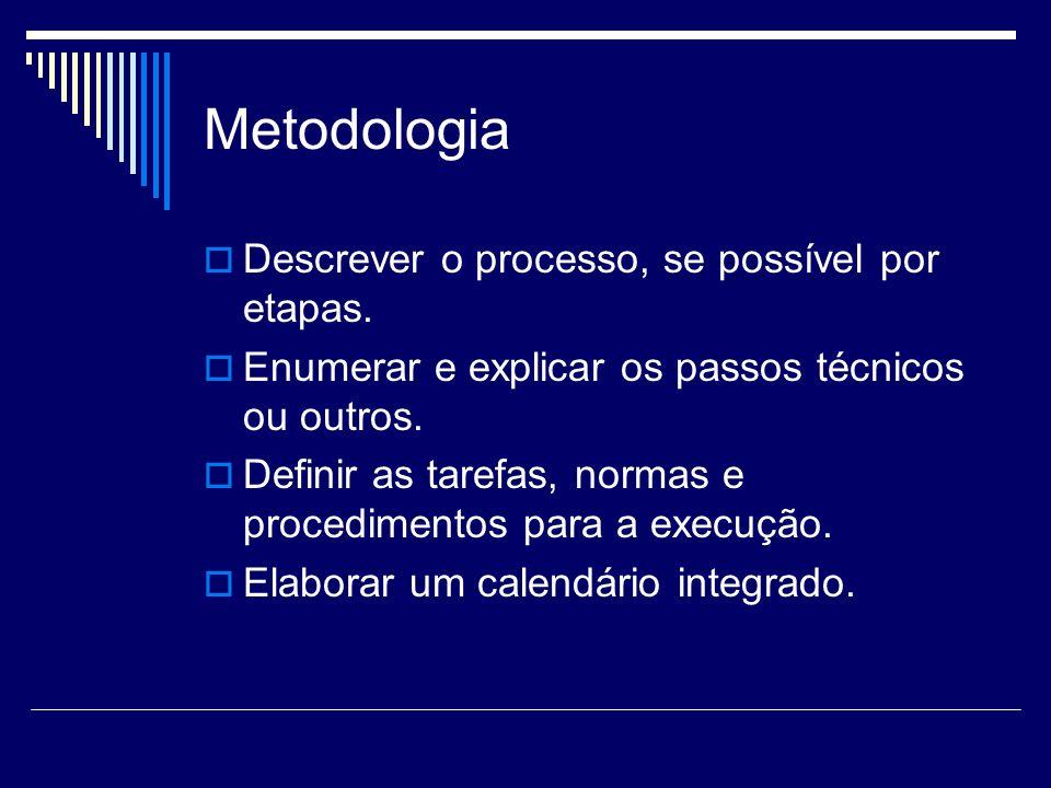 Metodologia Descrever o processo, se possível por etapas. Enumerar e explicar os passos técnicos ou outros. Definir as tarefas, normas e procedimentos