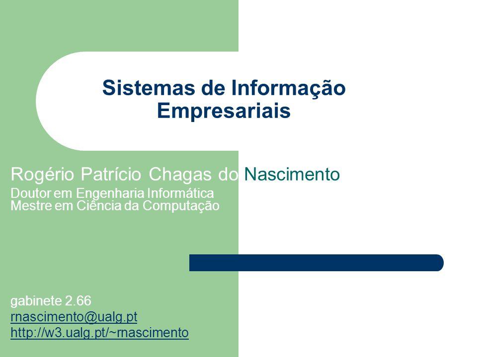 Sistemas de Informação Empresariais Rogério Patrício Chagas do Nascimento Doutor em Engenharia Informática Mestre em Ciência da Computação gabinete 2.