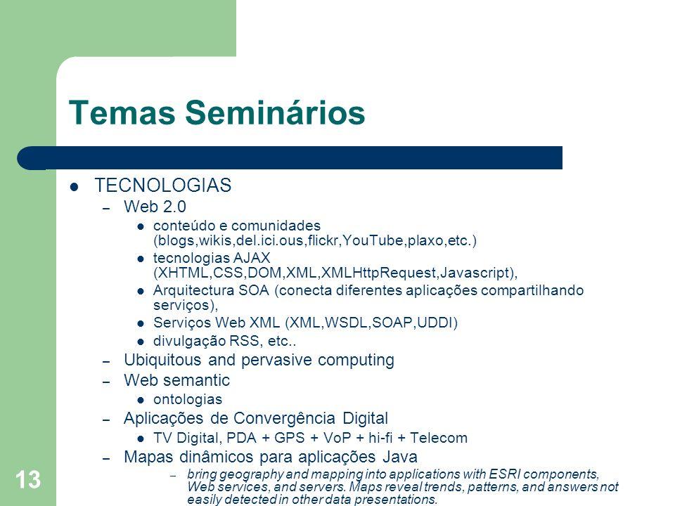 13 Temas Seminários TECNOLOGIAS – Web 2.0 conteúdo e comunidades (blogs,wikis,del.ici.ous,flickr,YouTube,plaxo,etc.) tecnologias AJAX (XHTML,CSS,DOM,X