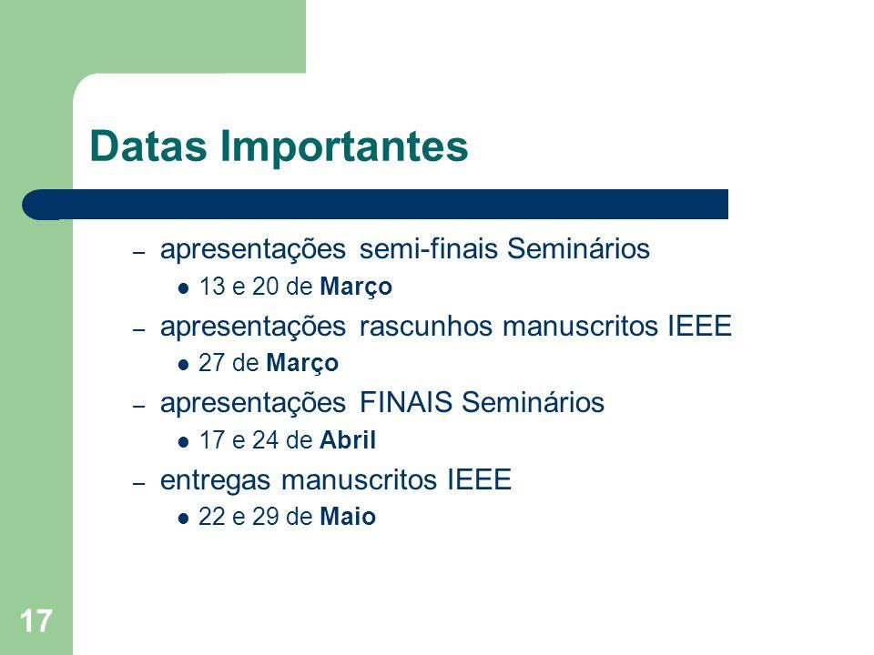 17 Datas Importantes – apresentações semi-finais Seminários 13 e 20 de Março – apresentações rascunhos manuscritos IEEE 27 de Março – apresentações FI