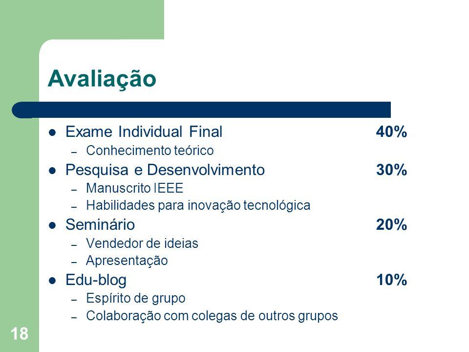 18 Avaliação Exame Individual Final40% – Conhecimento teórico Pesquisa e Desenvolvimento30% – Manuscrito IEEE – Habilidades para inovação tecnológica