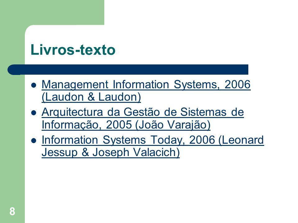 8 Livros-texto Management Information Systems, 2006 (Laudon & Laudon) Management Information Systems, 2006 (Laudon & Laudon) Arquitectura da Gestão de
