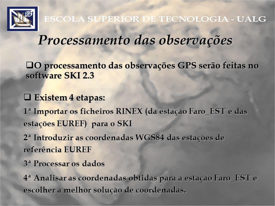 Processamento das observações O processamento das observações GPS serão feitas no software SKI 2.3 O processamento das observações GPS serão feitas no software SKI 2.3 Existem 4 etapas: Existem 4 etapas: 1ª Importar os ficheiros RINEX (da estação Faro_EST e das estações EUREF) para o SKI 2ª Introduzir as coordenadas WGS84 das estações de referência EUREF 3ª Processar os dados 4ª Analisar as coordenadas obtidas para a estação Faro_EST e escolher a melhor solução de coordenadas.