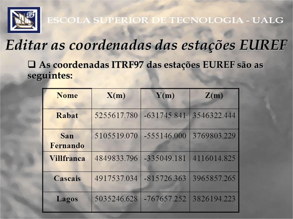 Editar as coordenadas das estações EUREF As coordenadas ITRF97 das estações EUREF são as seguintes: As coordenadas ITRF97 das estações EUREF são as seguintes: NomeX(m)Y(m)Z(m) Rabat5255617.780-631745.8413546322.444 San Fernando 5105519.070-555146.0003769803.229 Villfranca4849833.796-335049.1814116014.825 Cascais4917537.034-815726.3633965857.265 Lagos5035246.628-767657.2523826194.223