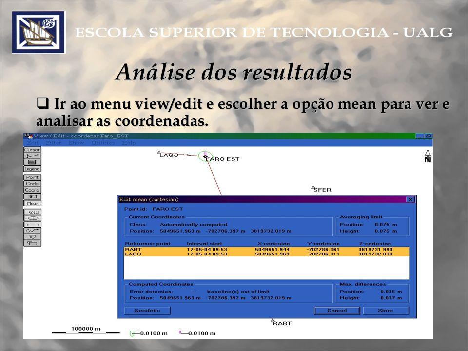 Análise dos resultados Ir ao menu view/edit e escolher a opção mean para ver e analisar as coordenadas.