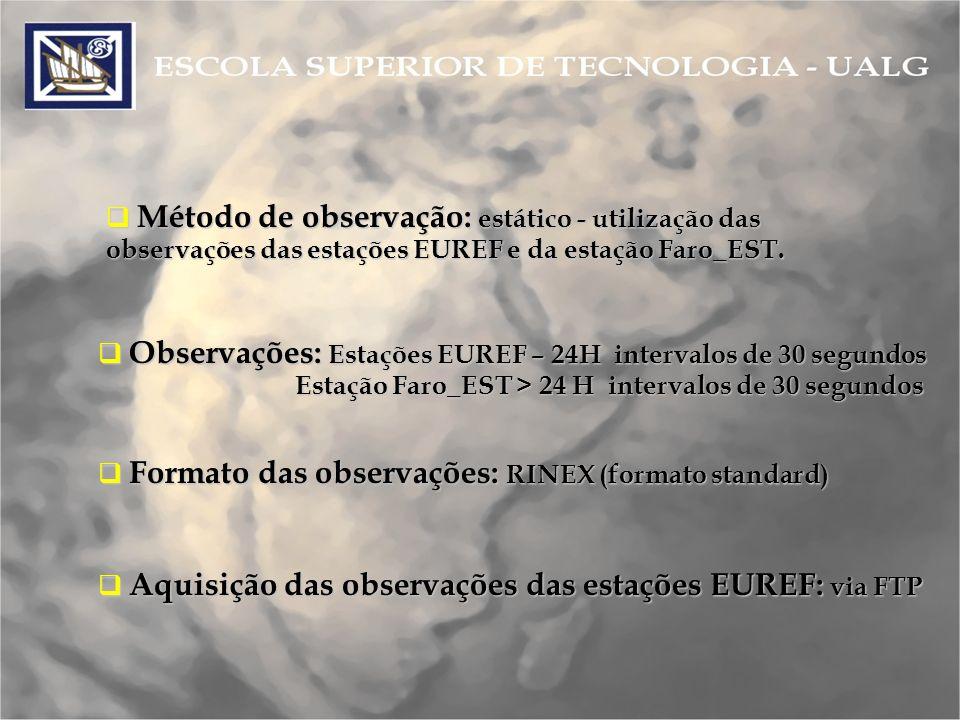 Ficheiro de observação – Formato Rinex Os ficheiros RINEX apresentam-se da seguinte maneira: Os ficheiros RINEX apresentam-se da seguinte maneira: rabt1380.04O Os primeiros 4 caracteres definem o nome da estação (neste caso rabt – Rabat).
