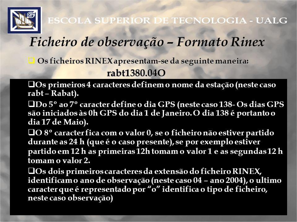 Os ficheiros RINEX apresentam o seguinte aspecto: Os ficheiros RINEX apresentam o seguinte aspecto: