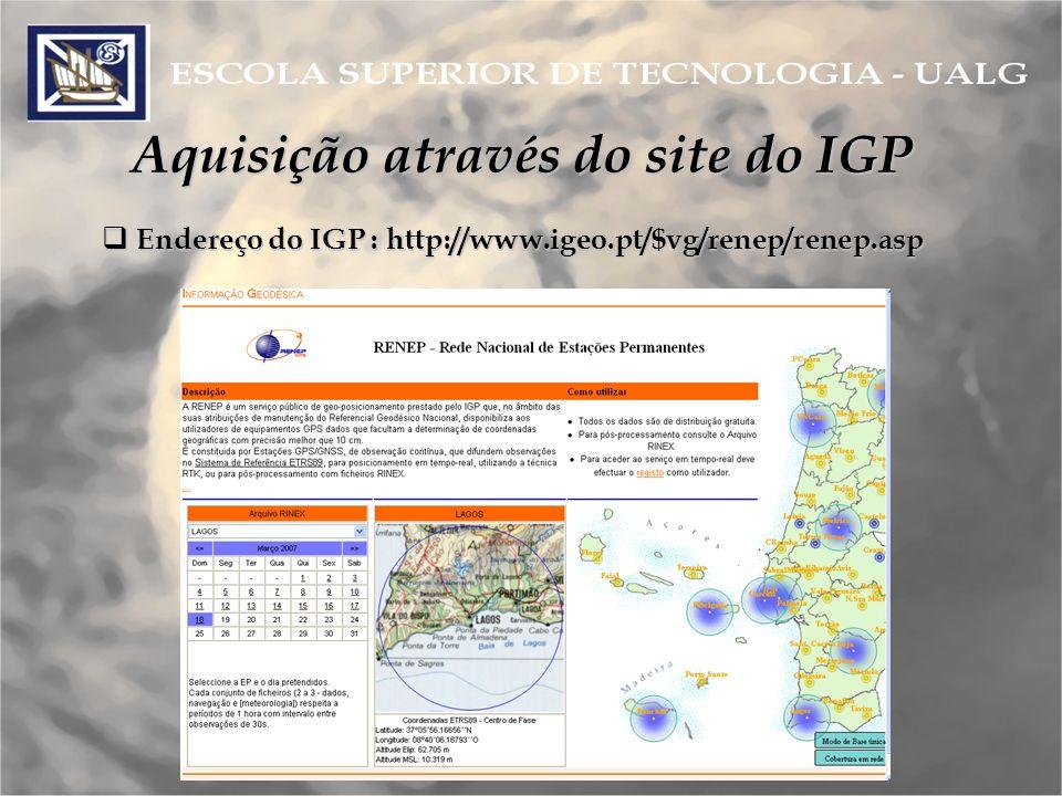 Aquisição através do site do IGP Endereço do IGP : http://www.igeo.pt/$vg/renep/renep.asp Endereço do IGP : http://www.igeo.pt/$vg/renep/renep.asp