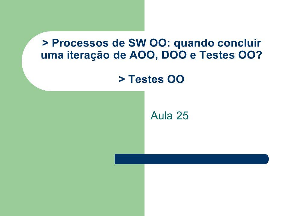 > Processos de SW OO: quando concluir uma iteração de AOO, DOO e Testes OO > Testes OO Aula 25