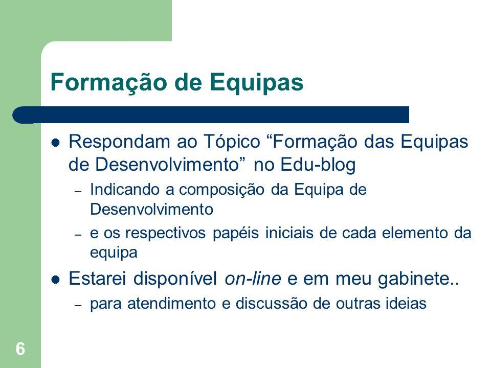 6 Formação de Equipas Respondam ao Tópico Formação das Equipas de Desenvolvimento no Edu-blog – Indicando a composição da Equipa de Desenvolvimento –
