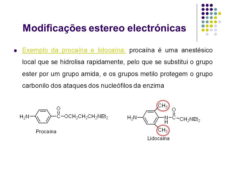 Modificações estereo electrónicas Exemplo da procaína e lidocaína: procaína é uma anestésico local que se hidrolisa rapidamente, pelo que se substitui