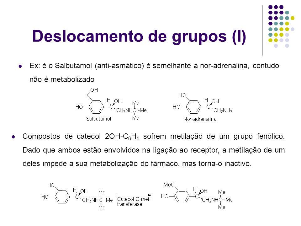 Deslocamento de grupos (I) Ex: é o Salbutamol (anti-asmático) é semelhante à nor-adrenalina, contudo não é metabolizado Compostos de catecol 2OH-C 6 H