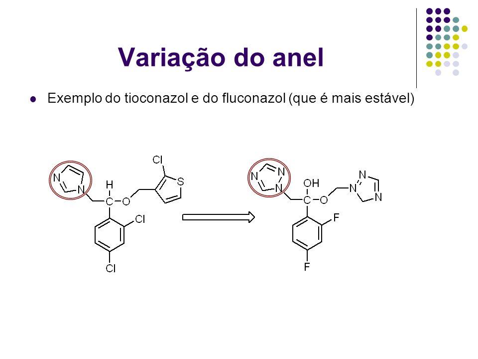 Variação do anel Exemplo do tioconazol e do fluconazol (que é mais estável)
