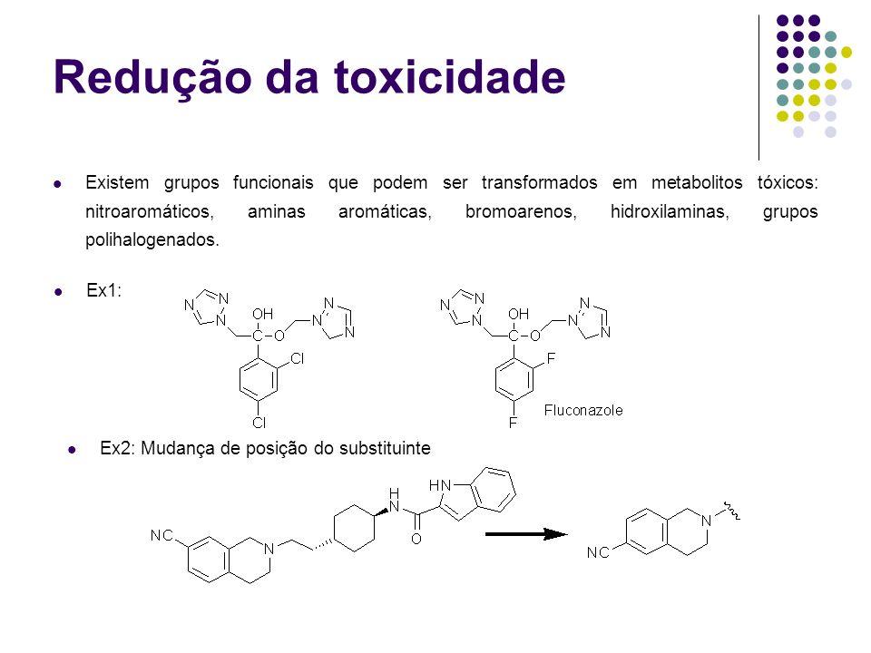 Redução da toxicidade Existem grupos funcionais que podem ser transformados em metabolitos tóxicos: nitroaromáticos, aminas aromáticas, bromoarenos, h