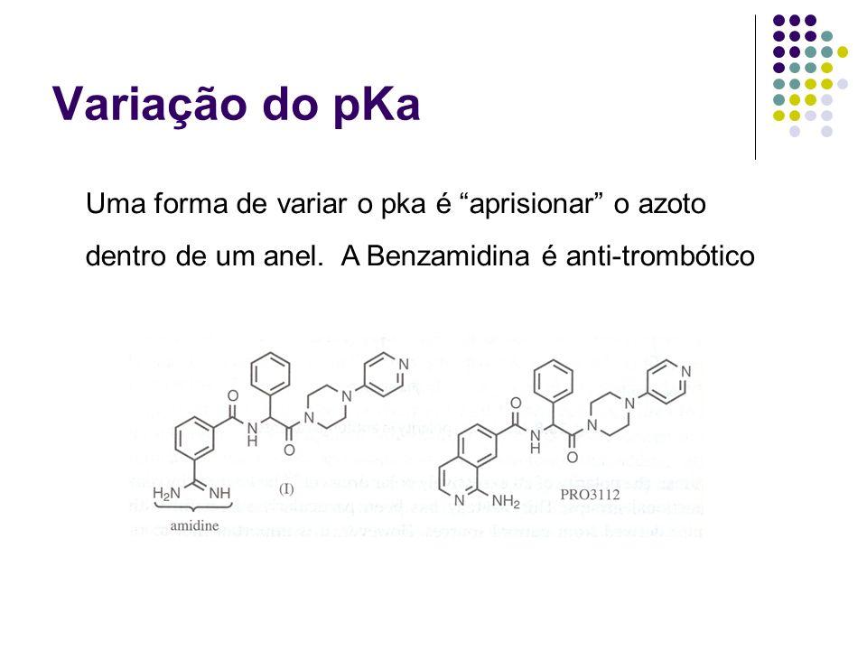 Variação do pKa Uma forma de variar o pka é aprisionar o azoto dentro de um anel. A Benzamidina é anti-trombótico