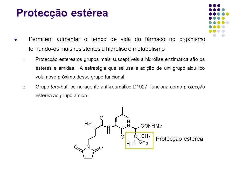Protecção estérea Permitem aumentar o tempo de vida do fármaco no organismo tornando-os mais resistentes à hidrólise e metabolismo 1. Protecção estere