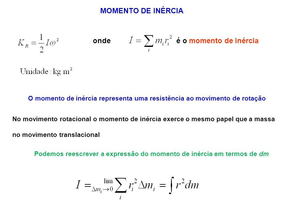 onde é o momento de inércia MOMENTO DE INÉRCIA O momento de inércia representa uma resistência ao movimento de rotação No movimento rotacional o momen