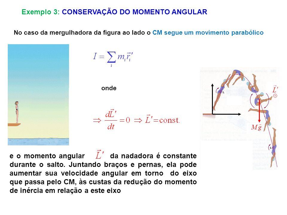 No caso da mergulhadora da figura ao lado o CM segue um movimento parabólico e o momento angular da nadadora é constante durante o salto. Juntando bra