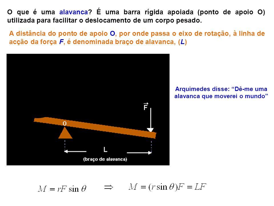 Arquimedes disse: Dê-me uma alavanca que moverei o mundo O que é uma alavanca? É uma barra rígida apoiada (ponto de apoio O) utilizada para facilitar
