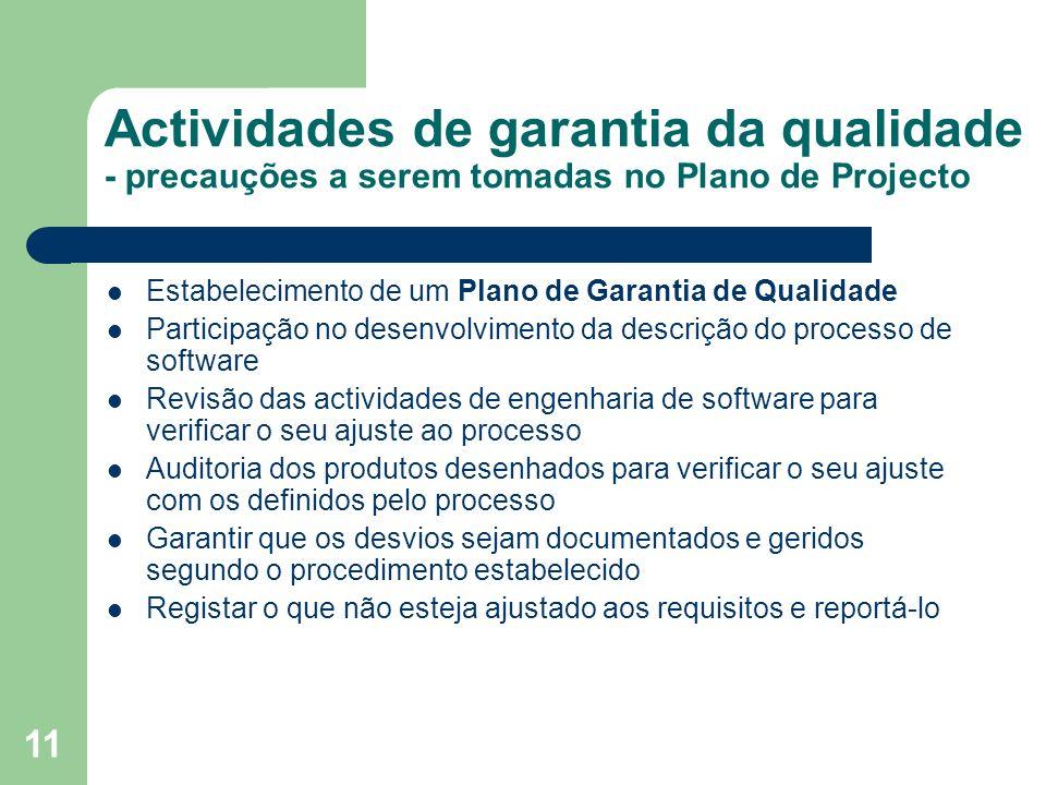 11 Actividades de garantia da qualidade - precauções a serem tomadas no Plano de Projecto Estabelecimento de um Plano de Garantia de Qualidade Partici