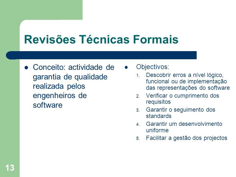 13 Revisões Técnicas Formais Conceito: actividade de garantia de qualidade realizada pelos engenheiros de software Objectivos: 1. Descobrir erros a ní