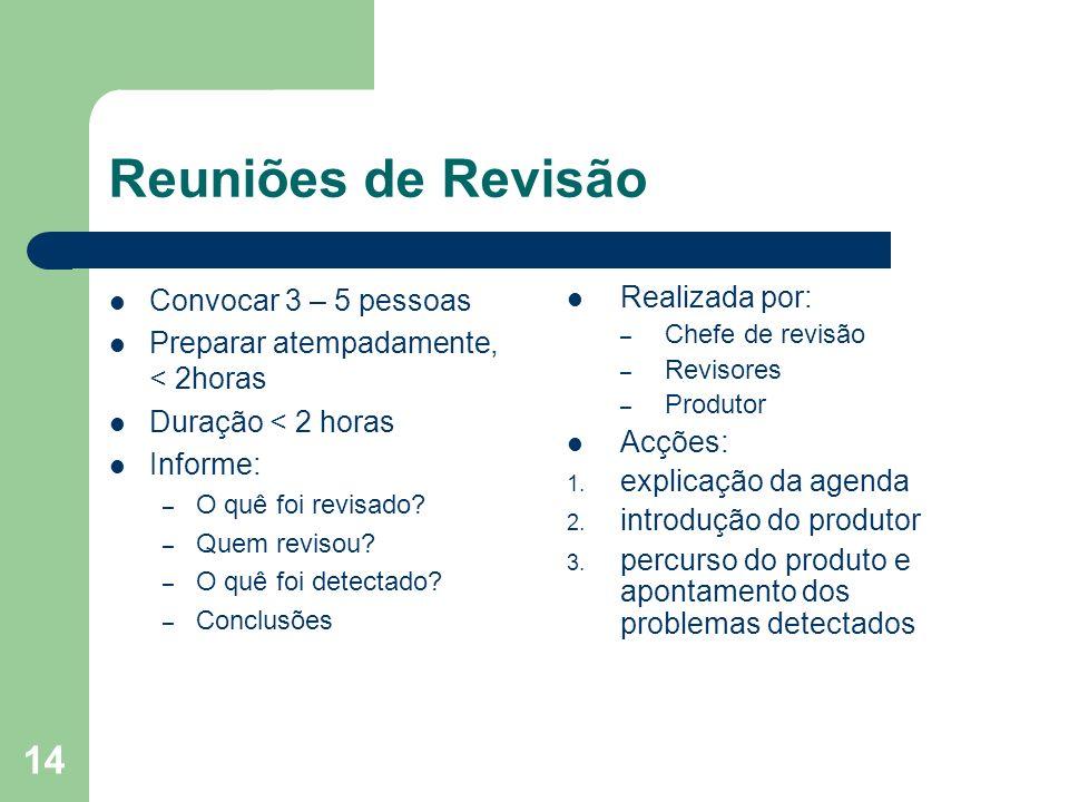14 Reuniões de Revisão Convocar 3 – 5 pessoas Preparar atempadamente, < 2horas Duração < 2 horas Informe: – O quê foi revisado? – Quem revisou? – O qu