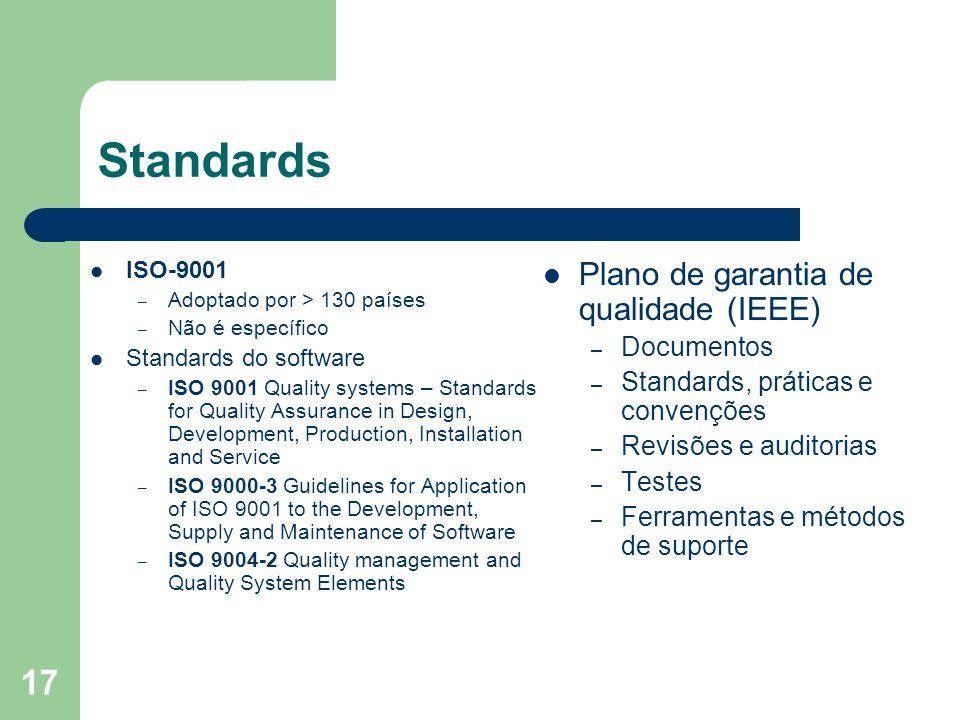 17 Standards ISO-9001 – Adoptado por > 130 países – Não é específico Standards do software – ISO 9001 Quality systems – Standards for Quality Assuranc