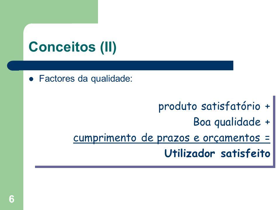 6 Conceitos (II) Factores da qualidade: produto satisfatório + Boa qualidade + cumprimento de prazos e orçamentos = Utilizador satisfeito produto sati