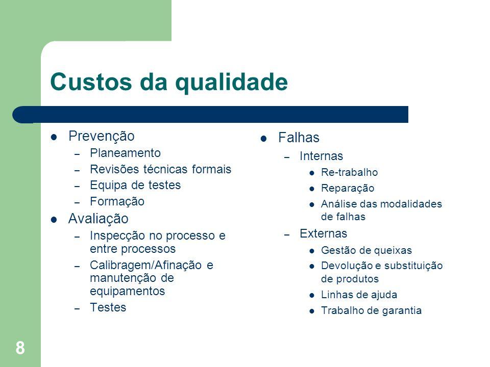 8 Custos da qualidade Prevenção – Planeamento – Revisões técnicas formais – Equipa de testes – Formação Avaliação – Inspecção no processo e entre proc