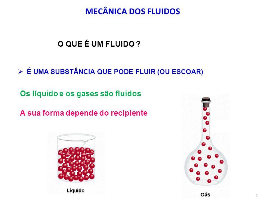 2 MECÂNICA DOS FLUIDOS Os líquido e os gases são fluidos É UMA SUBSTÂNCIA QUE PODE FLUIR (OU ESCOAR) O QUE É UM FLUIDO ? A sua forma depende do recipi