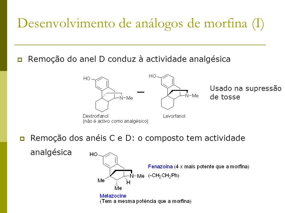Desenvolvimento de análogos de morfina (I) Remoção do anel D conduz à actividade analgésica Usado na supressão de tosse Remoção dos anéis C e D: o com