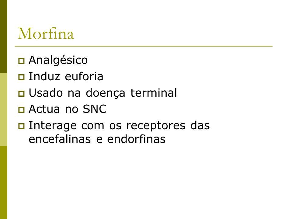 Morfina Analgésico Induz euforia Usado na doença terminal Actua no SNC Interage com os receptores das encefalinas e endorfinas