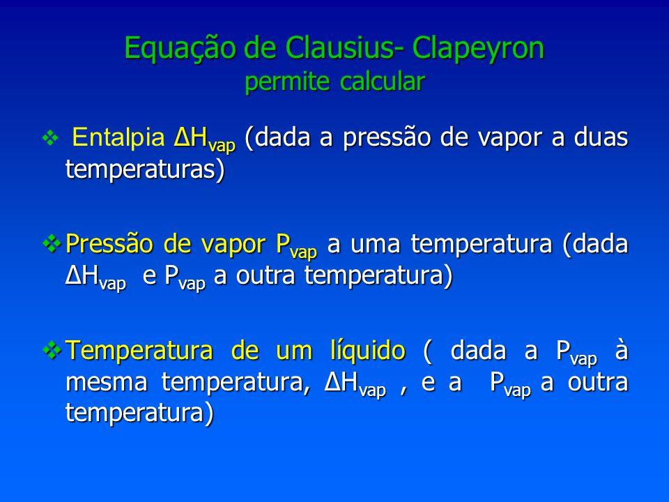 Equação de Clausius- Clapeyron permite calcular H vap (dada a pressão de vapor a duas temperaturas) Entalpia H vap (dada a pressão de vapor a duas tem
