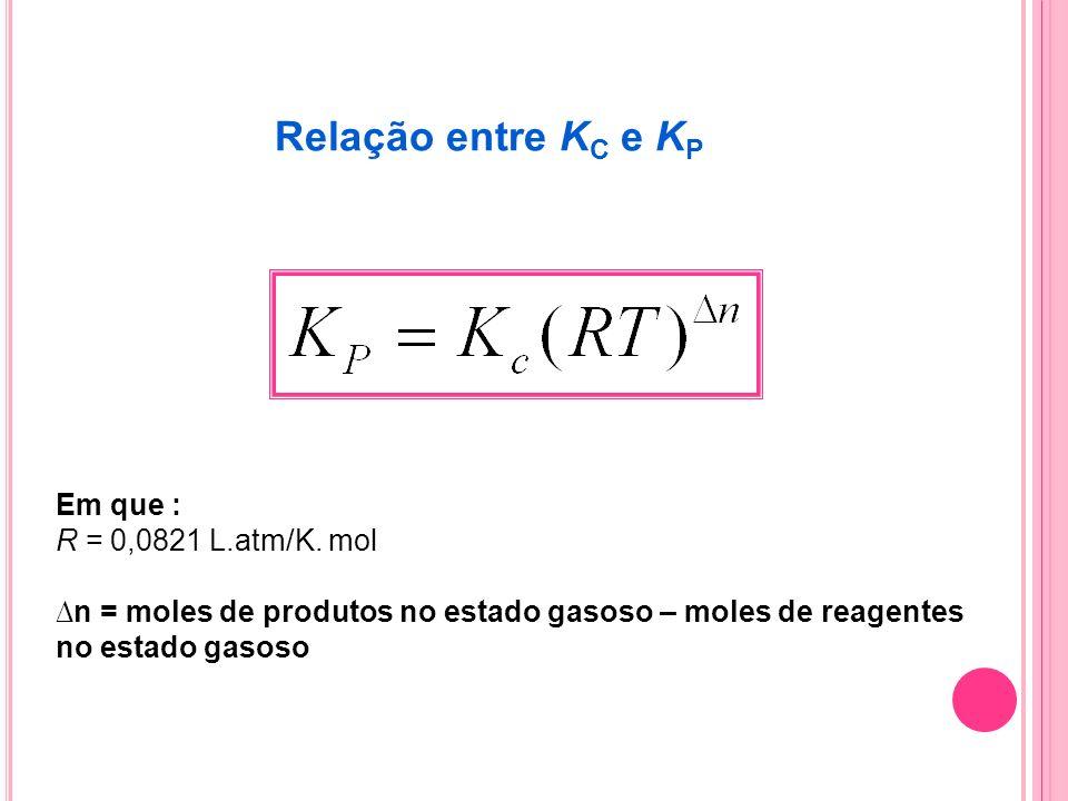 Relação entre K C e K P Em que : R = 0,0821 L.atm/K. mol n = moles de produtos no estado gasoso – moles de reagentes no estado gasoso