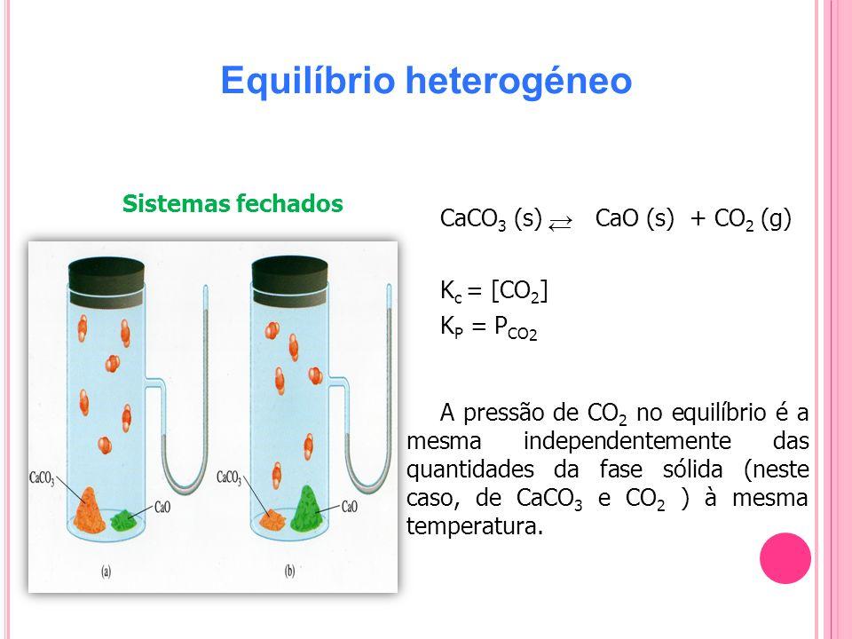 Equilíbrio heterogéneo CaCO 3 (s) CaO (s) + CO 2 (g) K c = [CO 2 ] K P = P CO 2 A pressão de CO 2 no equilíbrio é a mesma independentemente das quanti