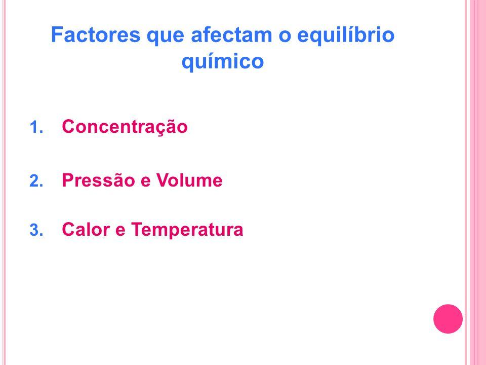 Factores que afectam o equilíbrio químico 1. Concentração 2. Pressão e Volume 3. Calor e Temperatura