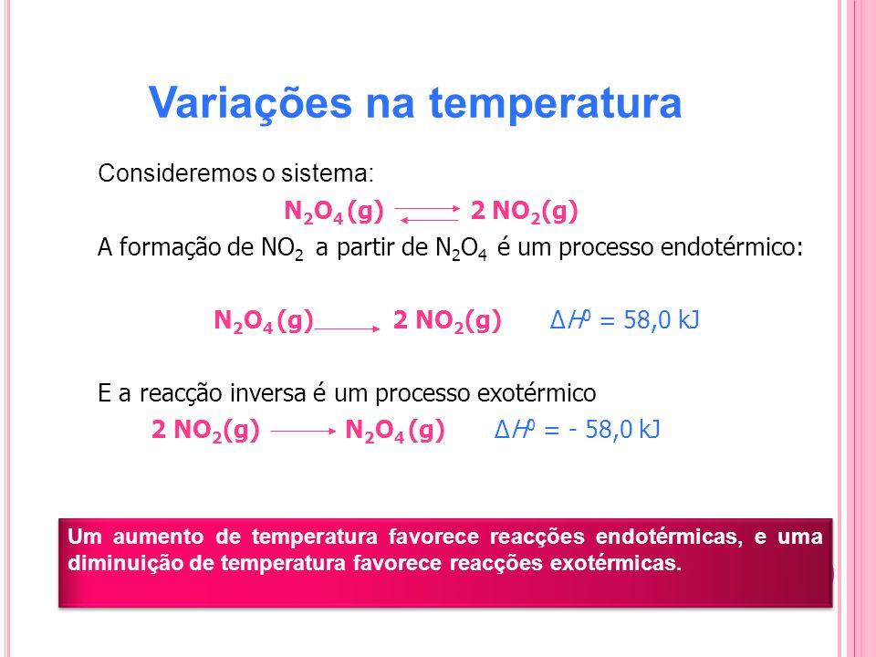 Variações na temperatura Consideremos o sistema: N 2 O 4 (g) 2 NO 2 (g) A formação de NO 2 a partir de N 2 O 4 é um processo endotérmico: N 2 O 4 (g)