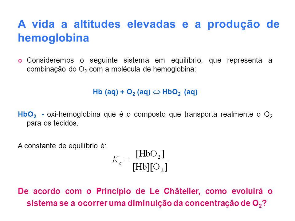 A vida a altitudes elevadas e a produção de hemoglobina Consideremos o seguinte sistema em equilíbrio, que representa a combinação do O 2 com a molécu