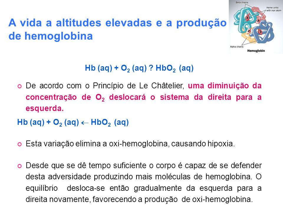Hb (aq) + O 2 (aq) ? HbO 2 (aq) De acordo com o Princípio de Le Châtelier, uma diminuição da concentração de O 2 deslocará o sistema da direita para a