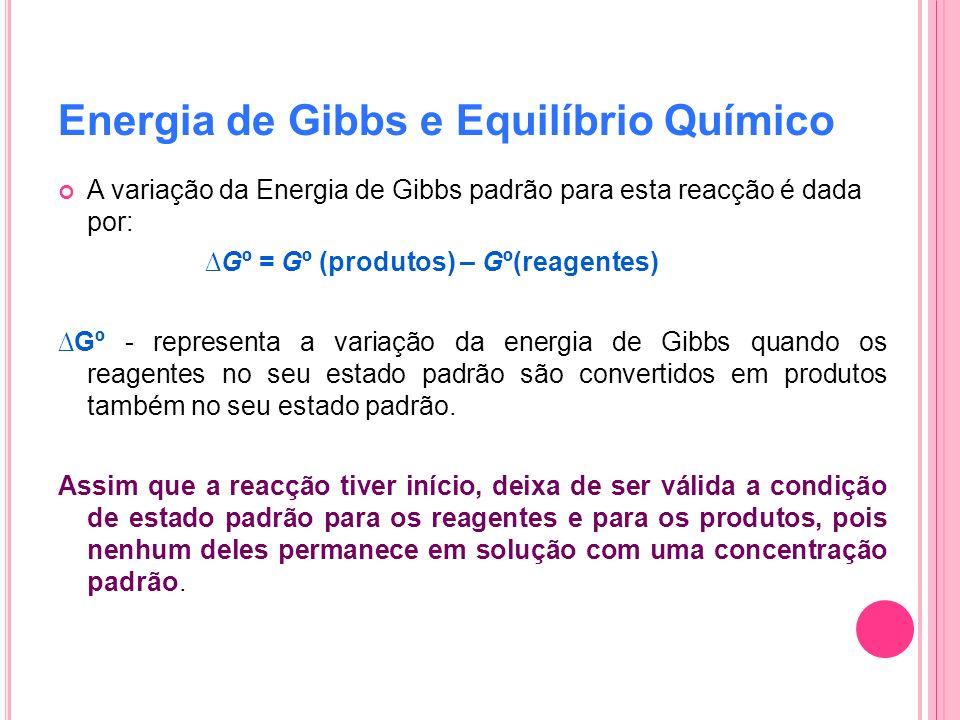 Energia de Gibbs e Equilíbrio Químico A variação da Energia de Gibbs padrão para esta reacção é dada por: Gº = Gº (produtos) – Gº(reagentes) Gº - repr