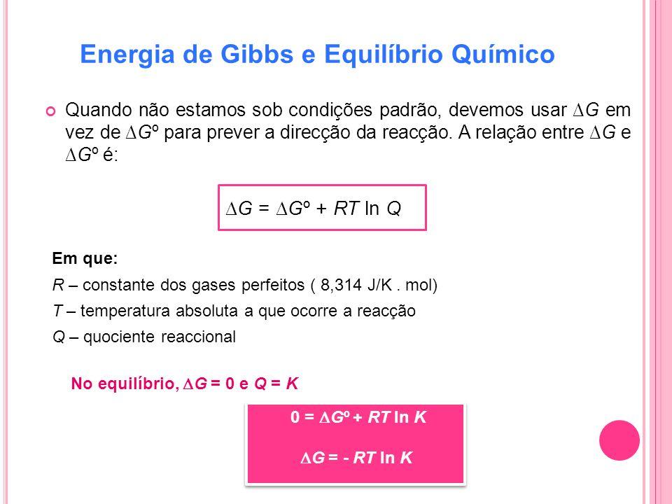 Energia de Gibbs e Equilíbrio Químico Quando não estamos sob condições padrão, devemos usar G em vez de Gº para prever a direcção da reacção. A relaçã