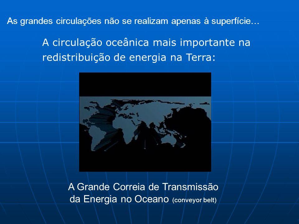 A circulação oceânica mais importante na redistribuição de energia na Terra: As grandes circulações não se realizam apenas à superfície… A Grande Corr