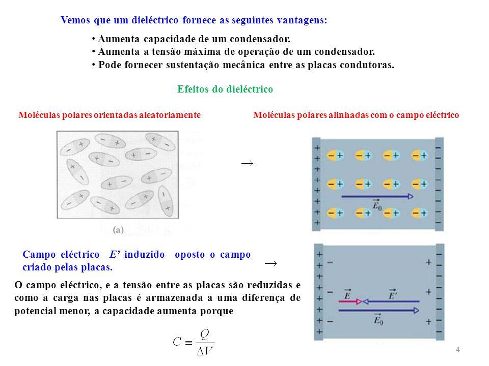 4 Vemos que um dieléctrico fornece as seguintes vantagens: Aumenta capacidade de um condensador. Aumenta a tensão máxima de operação de um condensador